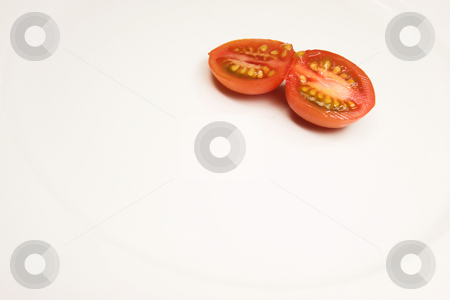 Food #44 stock photo, A cherry tomato on a white plate by Sean Nel