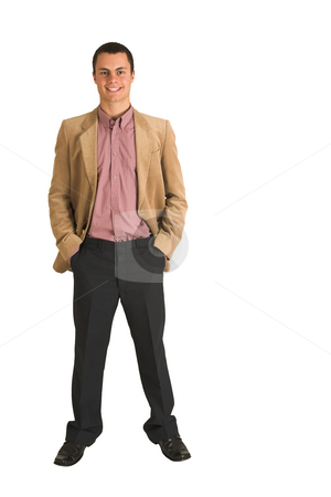 Businessman #213 stock photo, Businessman in a pink shirt and camel coloured jacket, smiling.  Standing with both hands in his pockets. by Sean Nel