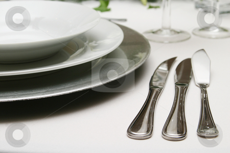 Knives stock photo, Formal three course meal silverware by Sean Nel