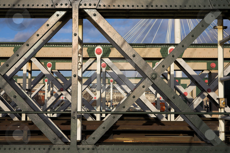 Bridge #1 stock photo, The Charring cross railway bridge girders by Sean Nel