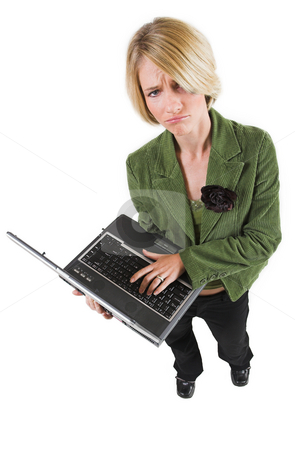 Heidi Booysen #29 stock photo, Business woman green jacket, holding laptop by Sean Nel