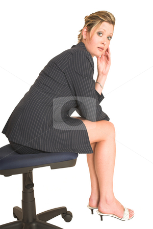Business Woman #27 stock photo, Business woman on office chair by Sean Nel