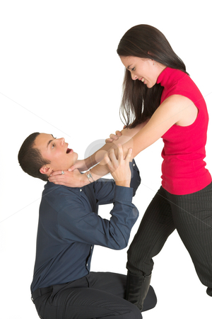 Business People #42 stock photo, A brunette woman strangling her male business partner. by Sean Nel