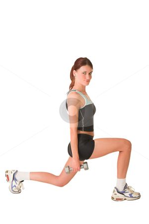 Gym #148 stock photo, Woman in gym wear exercising with weights. by Sean Nel