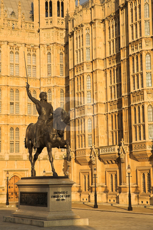Westminster #5 stock photo, The buildings of the House of Parliament with a statue of Richard by Sean Nel