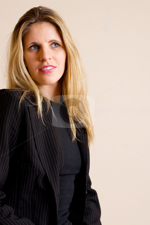 Businesslady #81 stock photo, Blonde haired busines woman, wearing black by Sean Nel