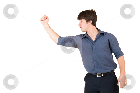 Businessman #62 stock photo, Businessman in blue shirt, showing a fist by Sean Nel