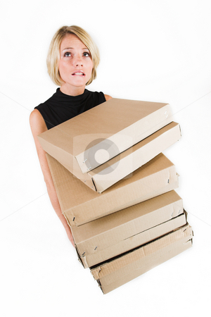 Business Lady #19 stock photo, Blond Business woman carrying boxes by Sean Nel