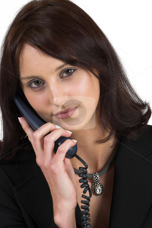 Business Lady #66 stock photo, Business woman with blue telephone by Sean Nel