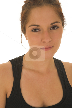 Gymbunny #17 stock photo, Brunette with black top and trainers by Sean Nel