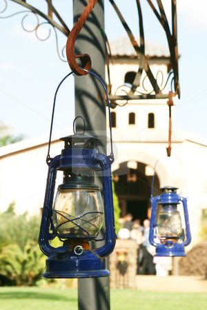 Strom Lantern stock photo, Hanging blue storm lantern by Sean Nel