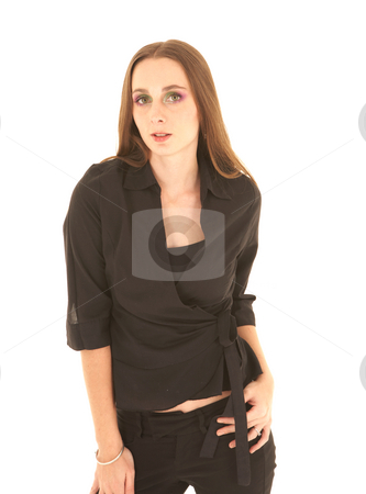 Sexy brunette businesswoman stock photo, Sexy young adult Caucasian businesswoman in a sexy black top on a white background. by Sean Nel