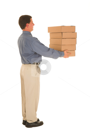 Businessman #95 stock photo, Man holding boxes. by Sean Nel