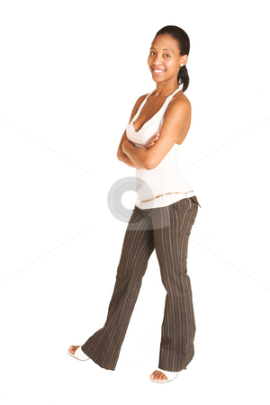 Mida Matsimela #31 stock photo, African business woman dressed in white top and pinstripe pants by Sean Nel