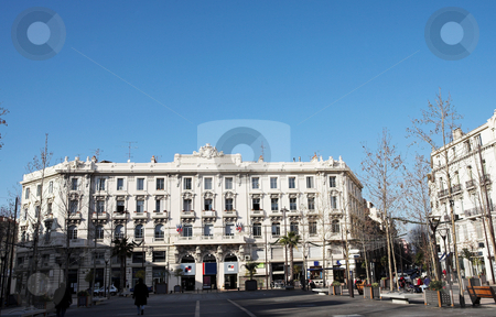Buildings in Antibes stock photo, Buildings with trees infront in Antibes, France by Sean Nel