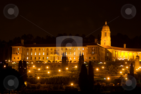 Nightlife #1 stock photo, Unionbuildings in Pretoria, South Africa at night time - copy space by Sean Nel