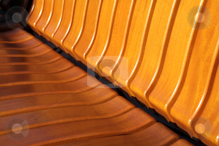 Wooden bench texture stock photo, Yellow color wooden bench texture.  Copy space. by Sean Nel