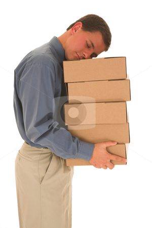 Businessman #85 stock photo, Man sleeping on boxes. by Sean Nel