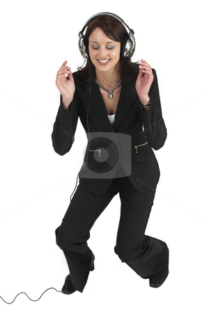 Luzaan Roodt #18 stock photo, Business woman in formal black suit, with headphones on her head - eyes closed by Sean Nel