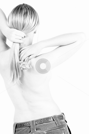 Body #6 stock photo, Naked female torso in jeans, with rose - High Key Black & White by Sean Nel