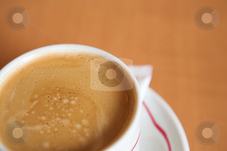 Coffee Cup #12 stock photo, Creamy Coffee in white cup and brown background - Shallow DOF by Sean Nel