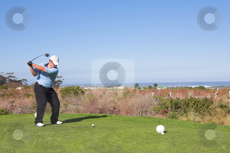 Golfer #60 stock photo, A golfer playing golf on a green.  Movement on golf club, head in focus. by Sean Nel