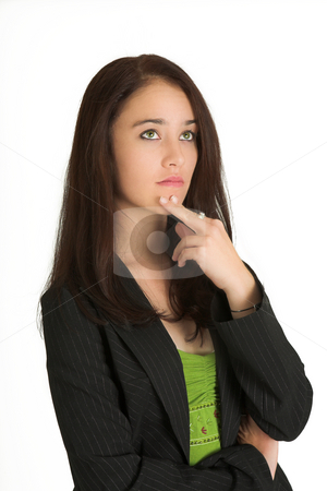 Business Woman #522 stock photo, Portrait of a brunette business woman, thinking by Sean Nel