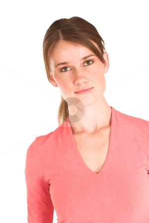 Business Woman #401 stock photo, Brunette business woman in  an informal light pink shirt. by Sean Nel