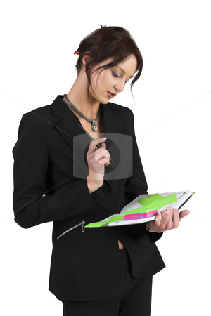 Luzaan Roodt #24 stock photo, Business woman in formal black suit, holding a diary and pen - looking down by Sean Nel