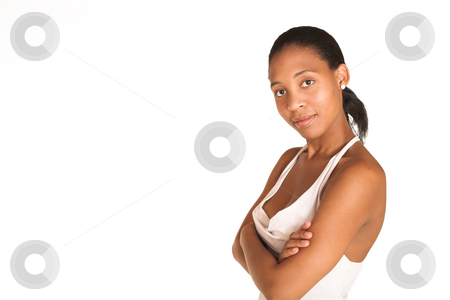 Mida Matsimela #28 stock photo, African business woman dressed white top. Copy space by Sean Nel