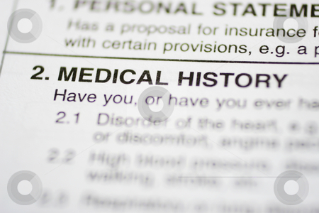 Paperwork #1 - Medical History stock photo, Insurance form about medical history by Sean Nel