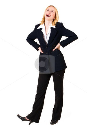 Lena Talberg #8 stock photo, Business woman in formal black suit, looking up with hands on hips by Sean Nel
