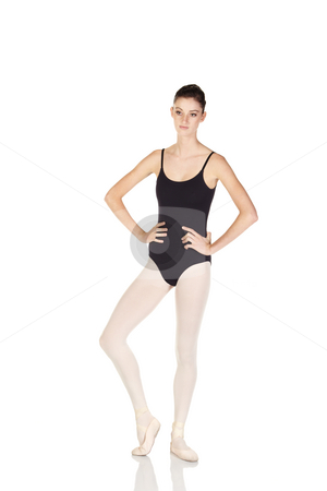 Young caucasian ballerina stock photo, Young caucasian ballerina girl on white background and reflective white floor showing various ballet steps and positions. Not Isolated by Sean Nel