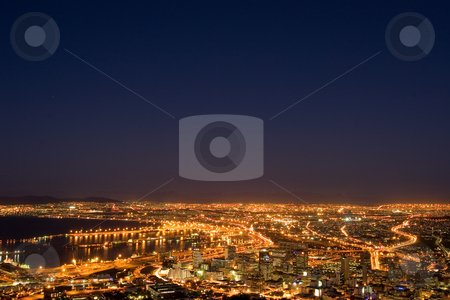 Lights #1 stock photo, Downtown Cape Town and Harbour at night - South Africa by Sean Nel