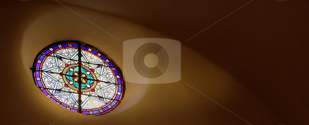 St Paul #20 stock photo, Stained glass window close to the roof inside a chapel by Sean Nel