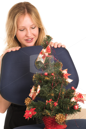 Business Woman #511 stock photo, Blond Business Woman, looking down at Christmas Tree by Sean Nel