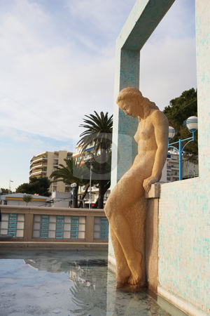 JuanLesPins #6 stock photo, The famous bathing lady of Juan Les Pins - Sunset by Sean Nel