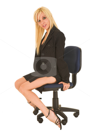 Business Woman in red #125 stock photo, Blond business woman in small black dress by Sean Nel