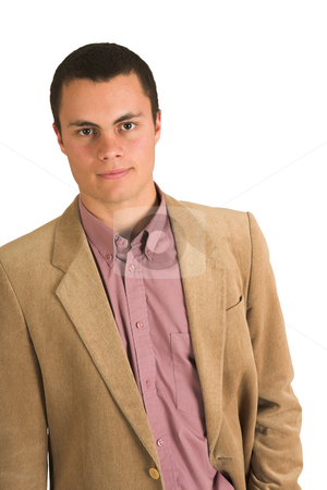 Businessman #199 stock photo, Businessman in a pink shirt and camel coloured jacket. by Sean Nel