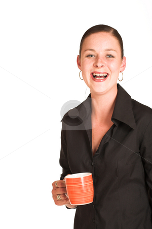 Charmaine Shoultz #19 stock photo, Business woman dressed in a black shirt, holding an orange coffee mug.  Copy space by Sean Nel