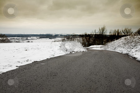 Snow Landscape #6 stock photo, Cleared road going down the mountain by Sean Nel