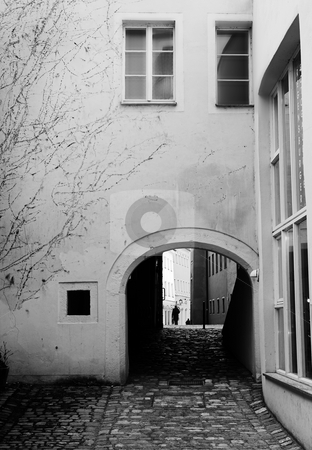 Buildings in Regensburg stock photo, Buildings with windows and cobblestone walkway in Regensburg, Germany. Black and white by Sean Nel
