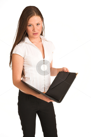 Business Woman #203(GS) stock photo, Business woman dressed white top. Holding a file by Sean Nel
