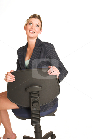 Laura Hopton #32 stock photo, Business woman on office chair , looking up, smiling - copy space by Sean Nel