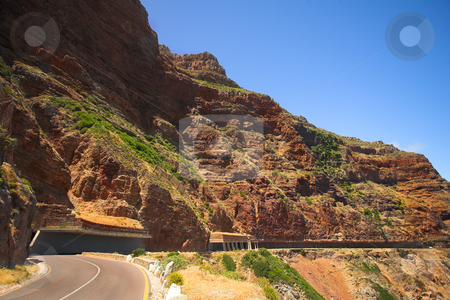 The Famous Chapmans Peak half tunnel stock photo, The winding road on Chapmans Peak, South Africa through the half tunnel by Sean Nel