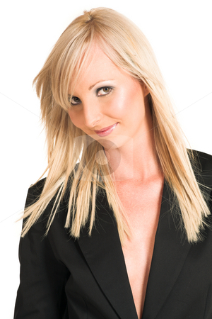 Business Woman #320 stock photo, Blond business woman dressed in a black shirt.  Portrait. by Sean Nel