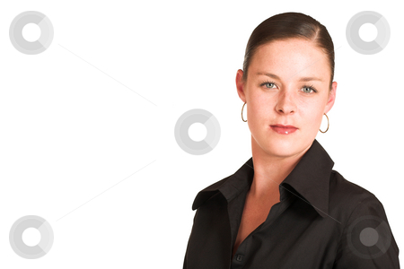 Charmaine Shoultz #3 stock photo, Business woman dressed in a black shirt.  Copy space by Sean Nel