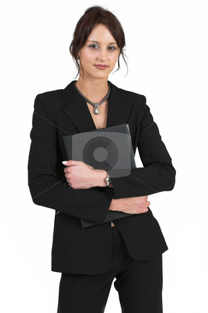 Business Lady #57 stock photo, Business woman with black file by Sean Nel