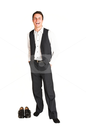 Businessman #112 stock photo, Businessman standing with hands in his pocket.  Lauging. by Sean Nel