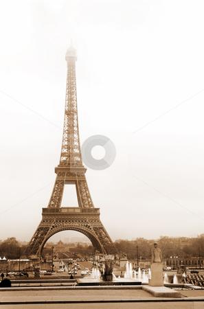 Paris #47 stock photo, The Eiffel Tower in Paris, France.  Sepia tone. by Sean Nel